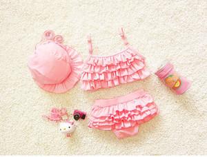 PROSEA Kids 3pcs set Girls Two-piece Swimsuits With Sunhat Child Baby Girls Sweet Mini Skirts Swimwear Bathing Suits Beachwear