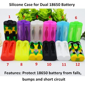 Doble 18650 Batería Funda de silicona Protector de piel protectora de goma para 18650 E Cigarette Mods Batería de colores
