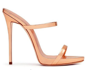 2018 Women Two Straps High Heels Rose Gold Patent Leather Strappy Sandals Ladies Cute Shoes Sexy Mules Stiletto Dress Shoes