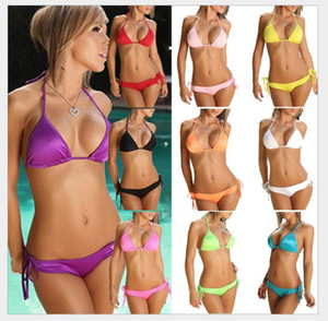 2018 New Swimwear women bikini 10 Color Set Push-up Bandeau Bra Bandage Swimsuit Bathing Suit Swimwear maillot de bain femme