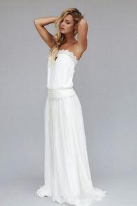 الموضة الحديثة بسيط US2-26W + + مخصص حمالة الرباط الشيفون الصيف شاطئ فستان الزفاف 2019 غمد الأميرة طويل أثواب الزفاف عارضة