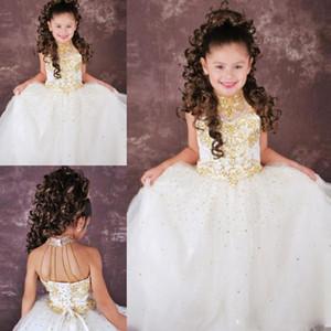 Hot vente d'or cristal perles longueur de plancher A-ligne filles princesse robes de paillettes Pageant haut col organza chea livraison gratuite de haute qualité