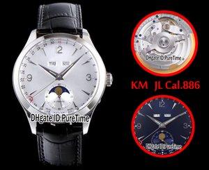 Nuevo KM Master Edition Master Calendar 1558420 Caja de acero White Dial ETA Cal.886 Reloj automático para hombres Puretime de cuero (Fase lunar correcta) JL4
