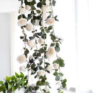 ارتفع الزهور الاصطناعية ديي الحرير وهمية روز زهرة اللبلاب فاين الأوراق الخضراء 180 سنتيمتر الزفاف الديكور المنزل شنقا عيد الميلاد جارلاند