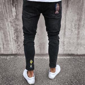 Preto Skinny Jeans Crânio Motociclista Homens Jeans Homme Slim Fit Personalidade Emblema Patchwork Denim Hip Hop Hip Street para Homens
