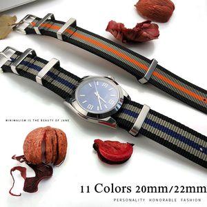İzle Man OMG 007 için Watchband 22mm 20mm Siyah Mavi Su geçirmez Dalış Naylon Nato İzle Band Kayışı Gümüş Paslanmaz Çelik Pin toka