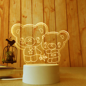3D Small Night-light Small 2018 NEW Small Desk Lamp Gift Lamp USB Touch Remote Control Originality Cozy Bedside Lamp 7 color Double bear