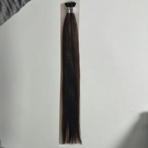 "ELIBESS Hair-Russian Remy Nano Ring Extensiones de cabello humano 16 ""- 26"" 100 s / set stick nano ring extensiones de cabello 2 # marrón oscuro"
