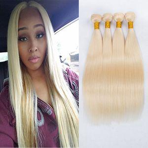 Nouveau Arriver Miel Blonde Bundles de Cheveux Humains 613 # Platinum Blonde Extension de Cheveux Raides Brésilien Non Transformés Cheveux Vierges