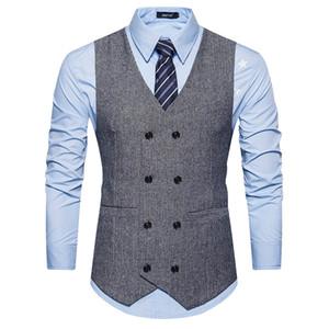 Chaleco de traje de lana de doble botonadura regular Hombres Primavera Nuevo Chaleco de lana sin mangas Chaleco para hombre Chalecos de negocios de boda Slim Fit Nuevo
