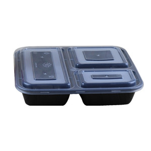 Cheapest !!! US AU Microwave ECO-friendly Food Containers 3 Compartment Disposable lunch bento box black Meal Prep 1000ml