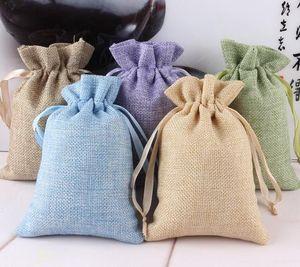 50pcs Burlap Favor Bags Vintage Rustic Favor Wedding Candy Bags Linen Gifts Pouch Favor Bags 10x15cm free shipping