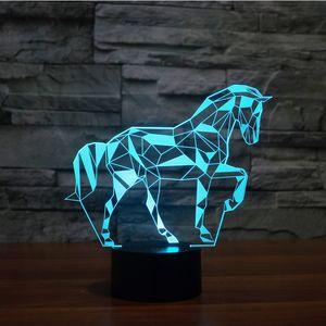 7 Цвет лошади Lamp 3D Визуальный водить Ночные огни для детей Сенсорный USB Таблица Lampara Лампе младенца Звезда Спящий Nightlight Оптовая Dropshipping