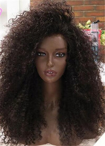 Парик фронта монгольской Kinky завитые полный парик человеческих волос Парики Virgin Glueless кружева для чернокожих женщин Afro Kinky завитые парики человеческих волос