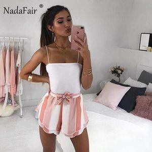 Nadafair 2018 New Ladie Doce Listrado Bow Shorts Verão Rosa Shorts Casual Streetwear