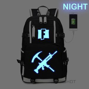 WISHOT Fortnite Battle Royale Luminous multifunções carregamento USB adolescentes mochila dos homens mulheres Bolsas Escolas sacos de viagem