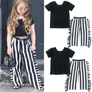Enfant Filles Vêtements Ensembles pantalons 1-5T Bébés filles T-shirt rayé + large 2pcs Suits 2019 Nouveau bébé Princesse Tenues enfants Vêtements D875