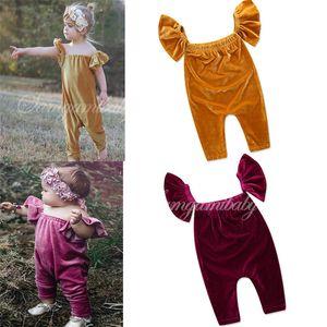 2018 Hot Baby Girls Mamelucos INS Niños Velvet Fly Jumpstuits Primavera Otoño Moda Infant Toddlers Romper Kids Ropa