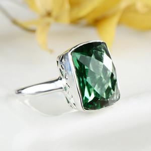 GQTORCH Verde Verde Cuadrado de Cristal Esmeralda Anillos Para Las Mujeres 925 Joyería de Plata Esterlina Vintage Flor Talla Accesorios Mujer Y1892704