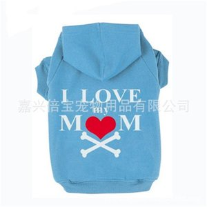 Vestiti di abbigliamento per cani Cute Felpa con cappuccio in pile Cappuccio Stampa I Love My Mom Cappuccio per camicia a forma di cuore Bone Puppy Maglione Pet Supplies 15 5bb bb