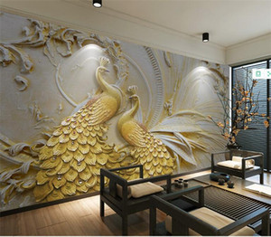 Personnalisé Papier Peint Mural Pour Les Murs 3D Stéréoscopique En Relief Golden Peacock Fond Mur Peinture Salon Chambre Chambre Décor À La Maison