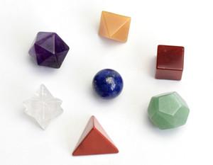 Pedras de Chakra Natural Cura Cristal Esculpida Sólidos Platônicos Símbolos da Geometria Sagrada com Estrela Merkaba
