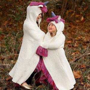 Kids Unicorn Hat Hooded tassel Blanket Shawl Knitted Cap Cosplay Photography knit blanket hat cape LJJK1052