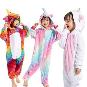 Pyjama Enfants Licorne D'hiver Pyjama De Bande Dessinée Animal De Nuit Vêtements Onesie Costume D'enfants Toison Chaud Flanelle Enfants Couverture Vêtements De Nuit