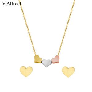V Atraer Collar de Collar de Collar de Collar de Acero Inoxidable Para Las Mujeres Bijoux Mariage Fashion Gold Filled Gargantilla Stud Pendientes