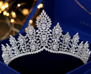 High-end lüks Avrupa kafa takı taç gelin düğün zirkon grand crown gelinlik aksesuarları mizaç takı