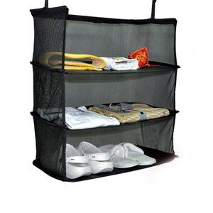 Brand New 3 Tier Mesh Hanging Bag Wardrobe Holder Collapsible Travel Organizer Black Luggage Clothes Shoe Shelf Storage Baskets