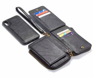 럭셔리 세련된 일반 지갑 가죽 전화 케이스 공예 재봉 분리형 커버를 들어 갤럭시 주 9 아이폰 XR XS 전화 케이스