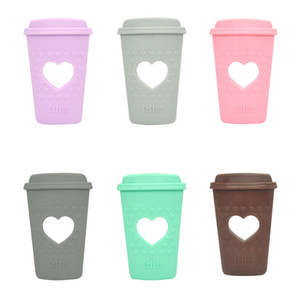 커피 컵 Teether 실리콘 Teething 장난감 소년과 소녀들을위한 심장 Chewelry Tea Cup Teethers BPA 무료 안전한 실리콘 유아 감각