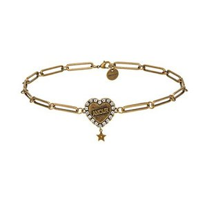 Rongho yeni tasarım Vintage Kristal amour Kalp chokers kolye kadınlar için Antik altın zincir kolye kolye mektubu kolye