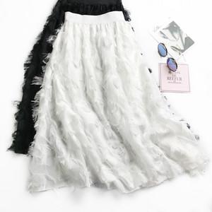 2018 chiffon skirts tassel feather bust skirt of tall waist han edition of female long posed the a - line skirt joker