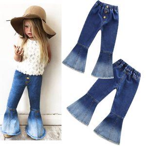 أزياء الفتيات الدنيم جرس القيعان الصلبة ملابس الأطفال لربيع وصيف ملابس أطفال جينز خمر