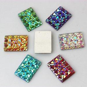 200PCS 10*14MM Newest AB Crystal Acrylic Rectangle flatback Rhinestones Beads Scrapbooking crafts Jewelry Accessories ZZ191