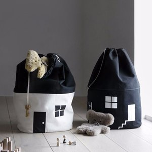 Large Capacity Cotton Cloth Basket Kid Toys Organizer Cylindrical Black drawstring Toy Bags For Storage SND27
