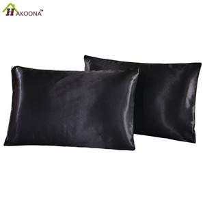 2pc 100% artificial luxury Silk Satin Bed Pillow Pillowcase home decorative Pillowcase Set of 2 Pillow Cover