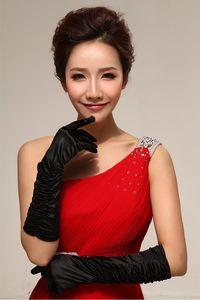 Moda Preto Abaixo Cotovelo Comprimento Luvas De Noiva Ruffles Cetim Dedo Completo Acessórios Do Casamento Festa Formal Banquete Mulheres Luva