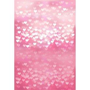 Brillant amour coeurs bébé rose fond photographie imprimé romantique Saint Valentin enfants enfants photo shoot décors pour Studio