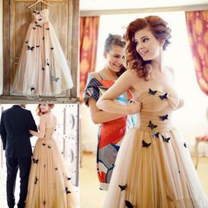 Borboleta 3D Applique Vestidos de Baile Champagne Ruffles Strapless Vestidos de Noite Tule Coquetel Mulheres Formal Vestido de Festa Até O Chão