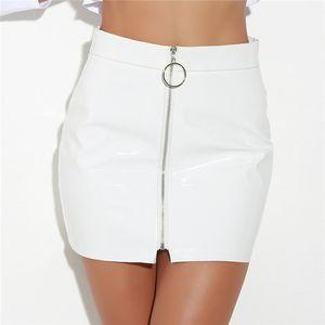High Waist Glossy Short Faux Pu Leather Mini Skirt Party Sexy Zipper Ring Punk White Black Bandage Skirt Women Pencil Skirts
