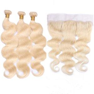 #613 блондинка перуанский человеческие волосы 3Bundles с фронтальной закрытия тела волны отбеливатель блондинка 13x4 полный кружева фронтальный с ткет расширения