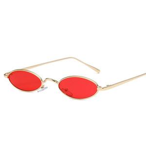 Petit Oval Cat Eye Lunettes de soleil Femmes Rétro Designer Red Sun Lunettes Hommes Petit Lunettes Rondes Femme