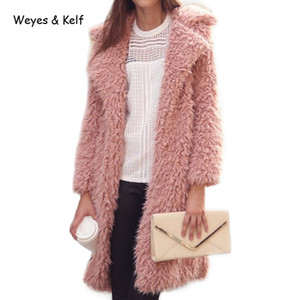 Weyes Kelf Sólida Turn-down Collar Fur Mulheres De Lã Coats2018 Inverno Quente Rosa Longo Trench Coat Para As Mulheres