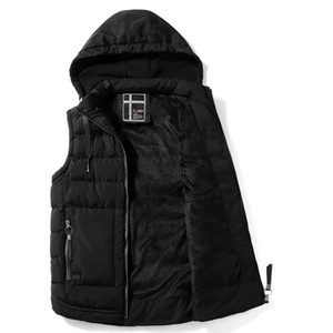 Autunno inverno in inverno Giacca con cappuccio Giacca con cappuccio da uomo in cotone-imbottito caldo Fleece Foderato Mens Coat Cardigans Weste L-4XL Plus Size