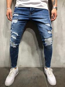 Homens quebrados lápis calças Jeans High Street Robin Blue Jeans listra branca magro Buraco Denim Asiático Tamanho