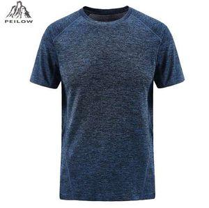 PEILOW мужская футболка летняя мода Марка одежда Мужская сплошной цвет быстрое высыхание с коротким рукавом мужчины повседневная топы Tee размер L~7XL 8XL