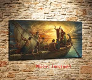 Иисус утихомиривает шторм, предметы из холста Home Decor HD Печатная картина современного искусства на холсте (без рамки)
